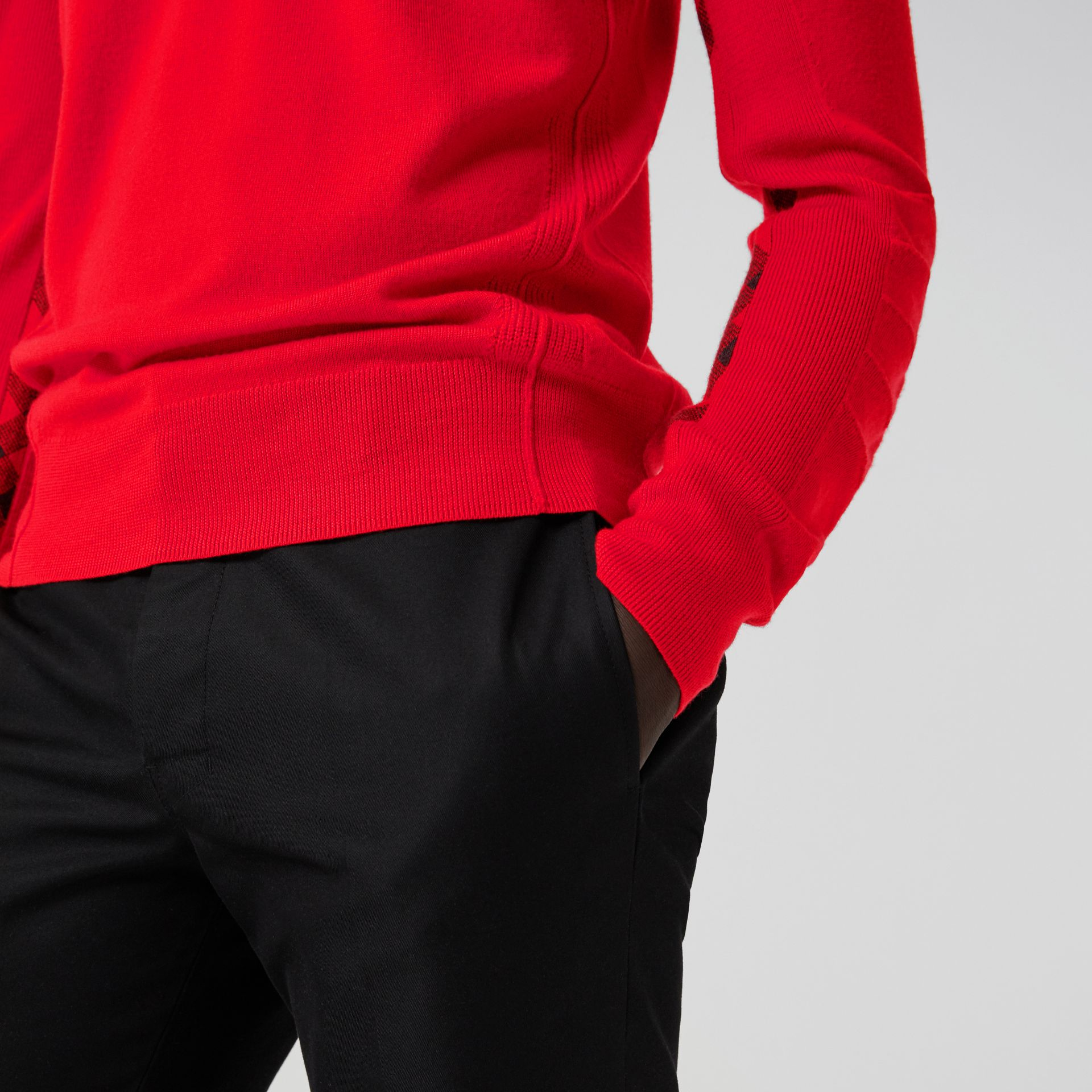 Check Detail Merino Wool Sweater in Bright Red - Men | Burberry - gallery image 1