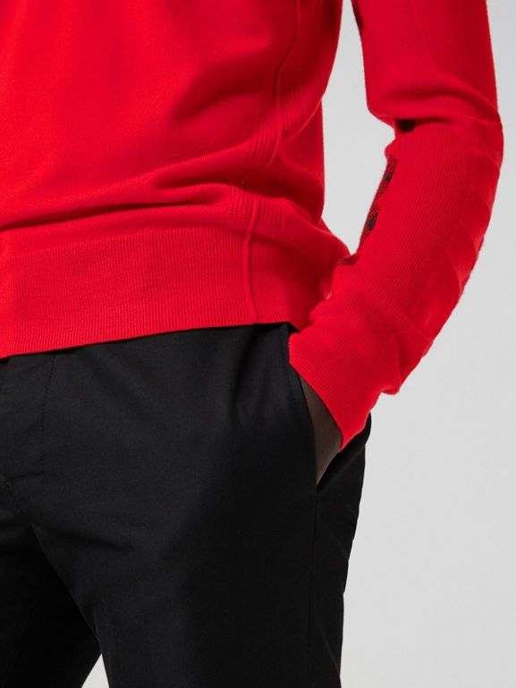 Check Detail Merino Wool Sweater in Bright Red - Men | Burberry - cell image 1