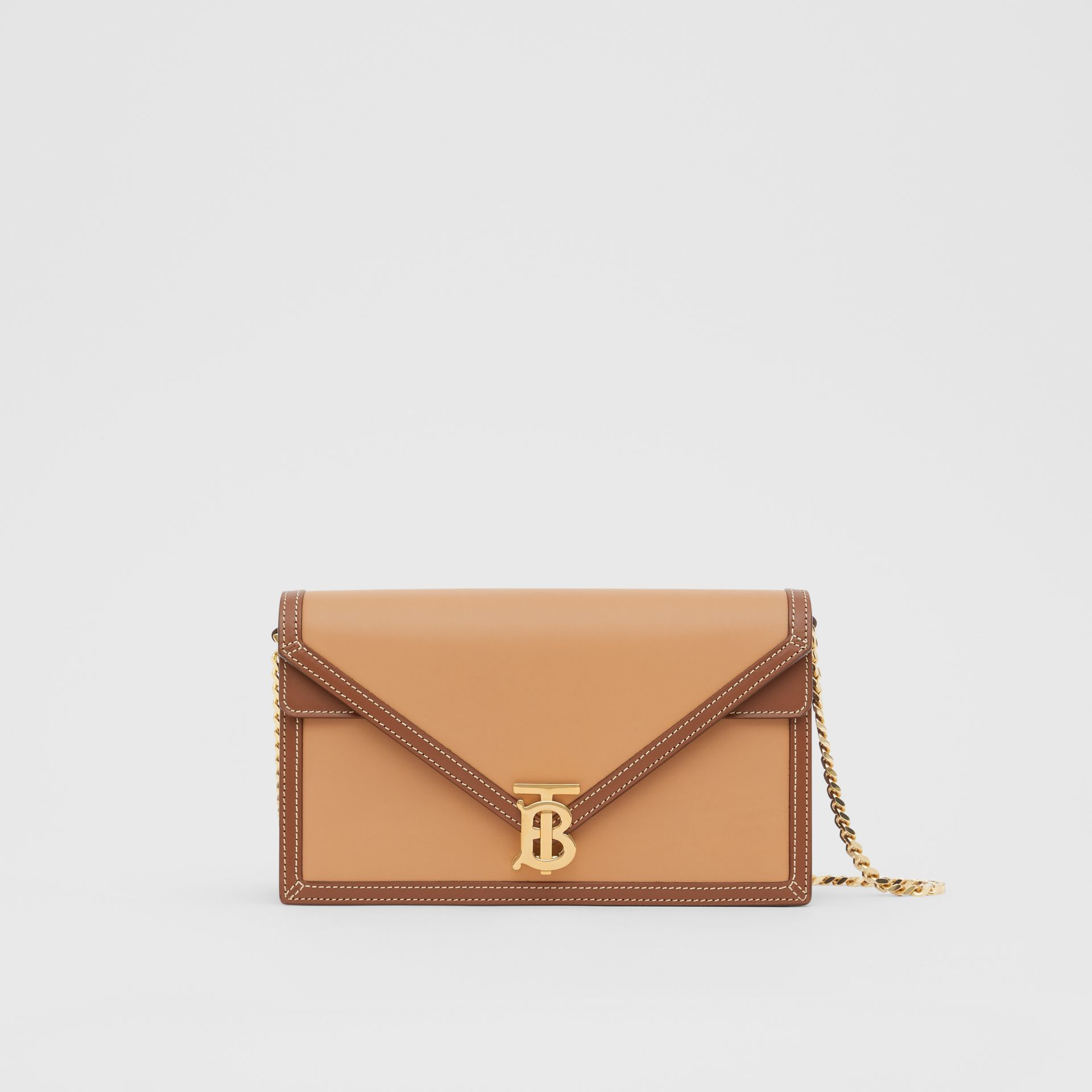 Small Two-tone Leather TB Envelope Clutch in Malt Brown - Women | Burberry - gallery image 0