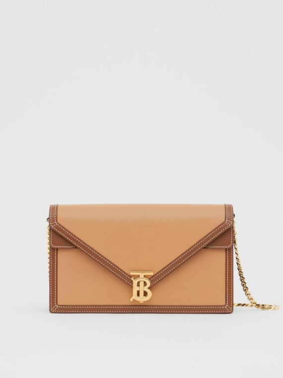 Small Two-tone Leather TB Envelope Clutch in Malt Brown