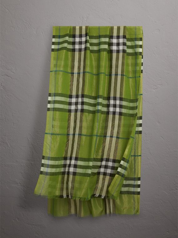 Metallic Check Silk and Wool Scarf in Bright Emerald