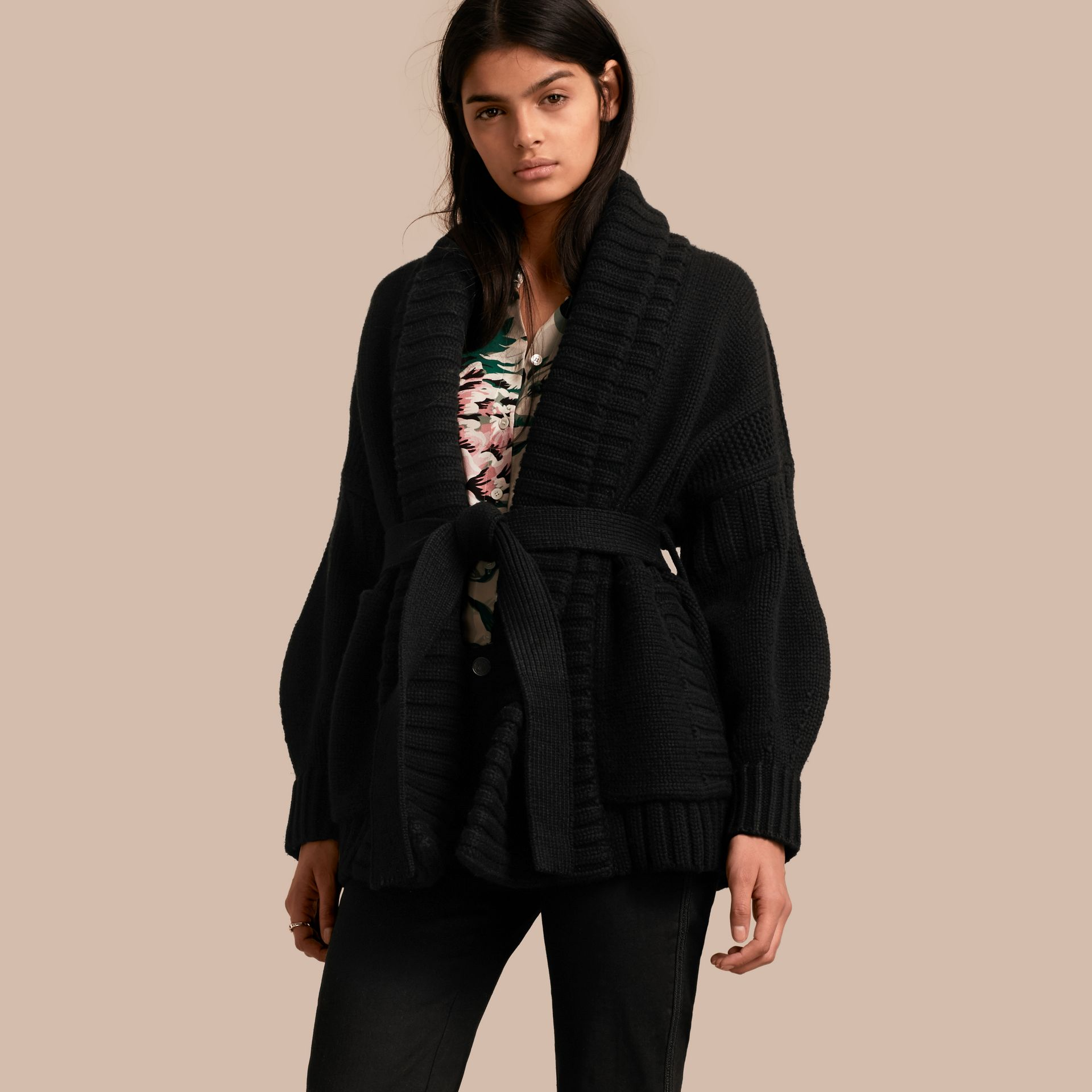 Black Knitted Wool Cashmere Belted Cardigan Jacket Black - gallery image 1