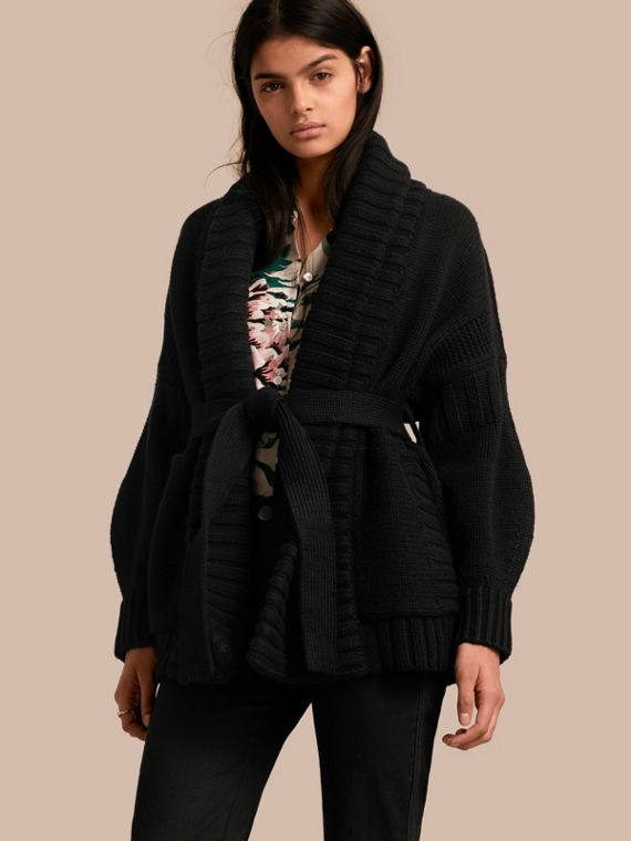Knitted Wool Cashmere Belted Cardigan Jacket Black