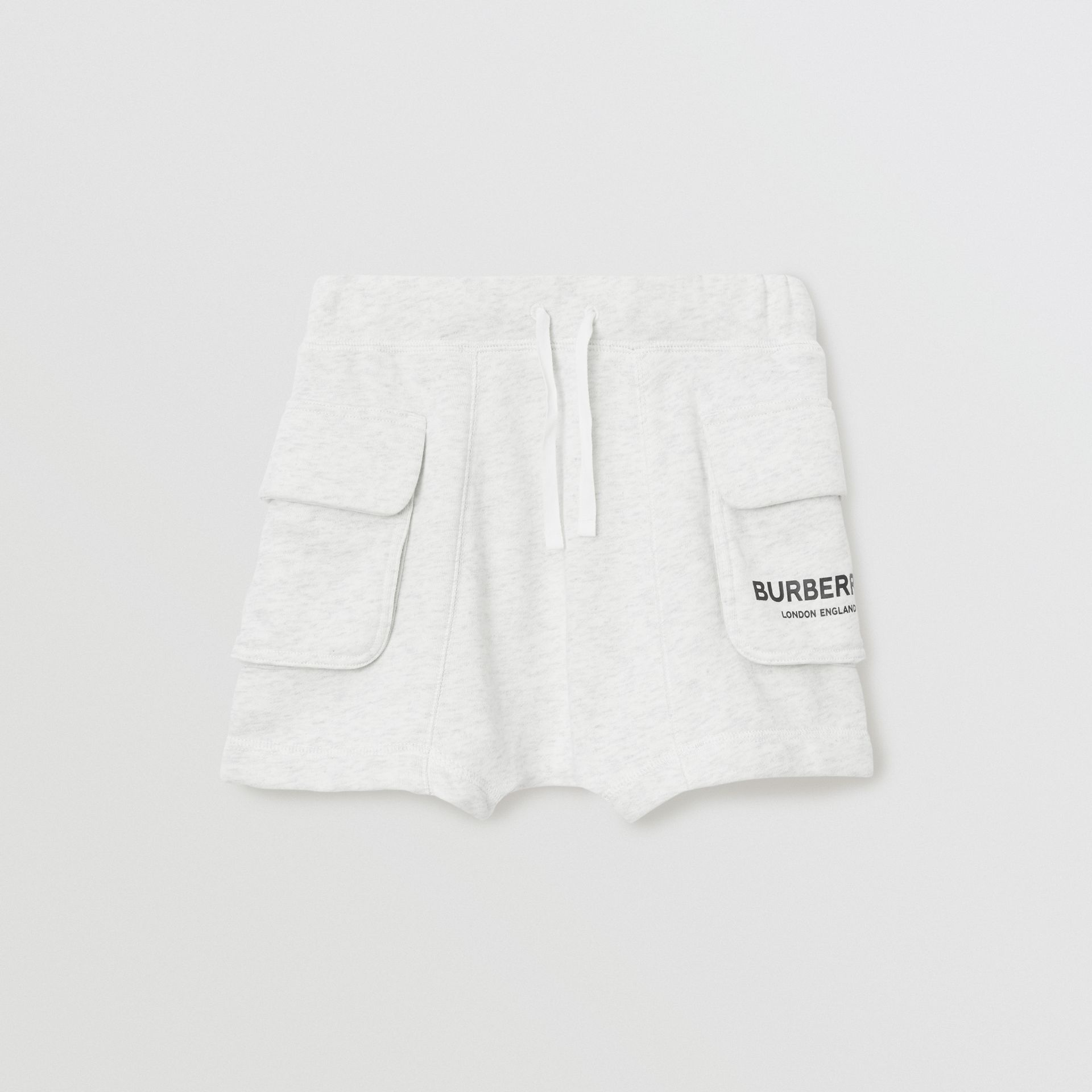 Logo Print Cotton Drawcord Shorts in White Melange | Burberry Australia - gallery image 0