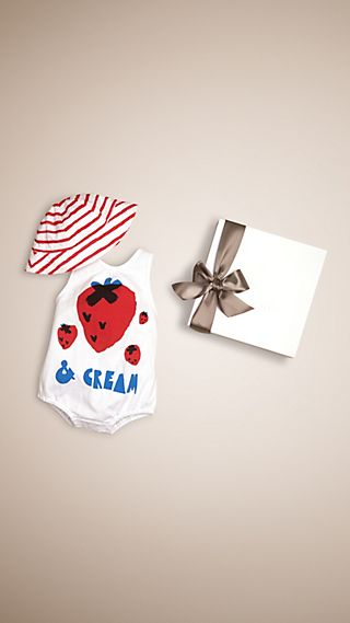 Strawberries and Cream Cotton Two-piece Baby Gift Set
