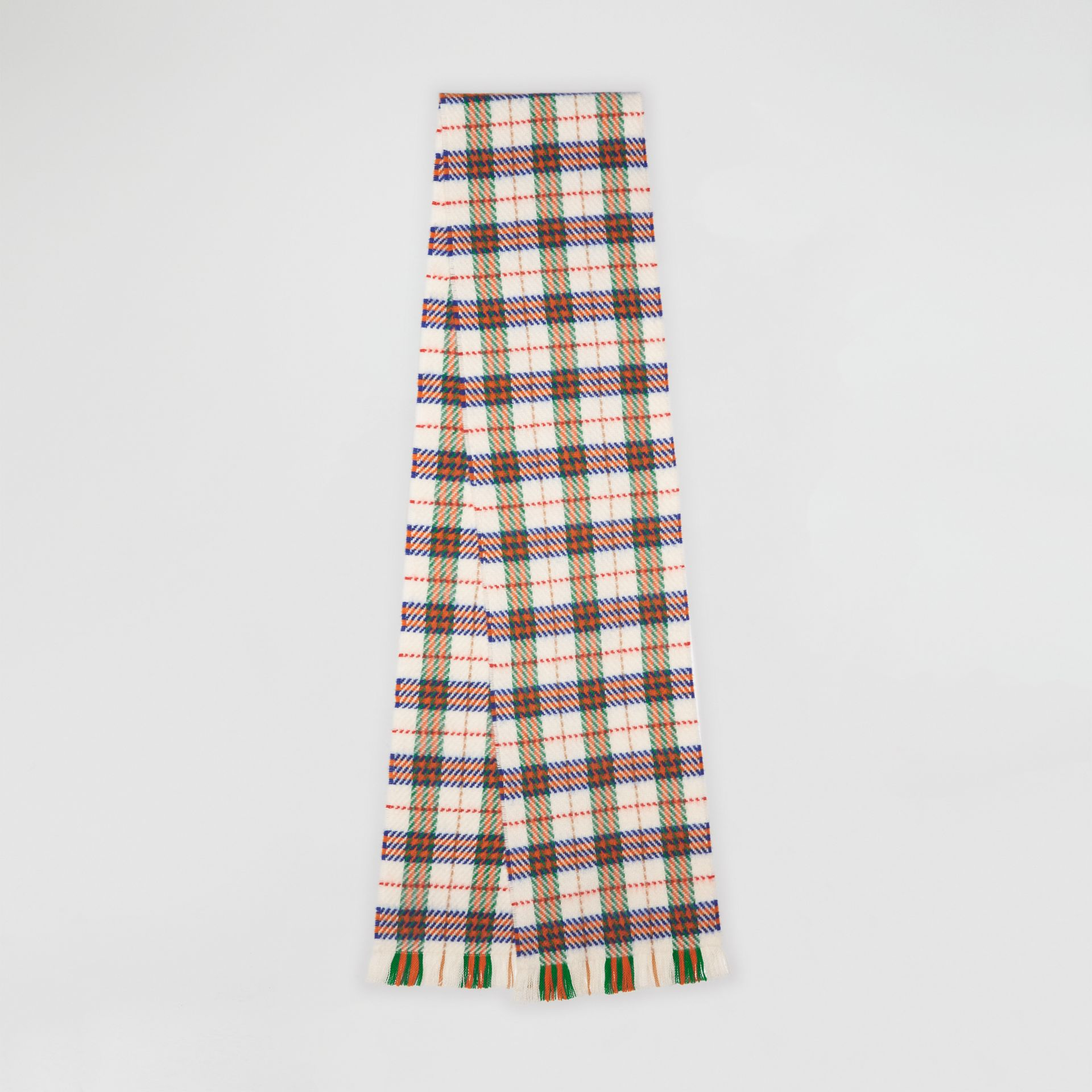 Check Merino Wool Scarf in Natural White | Burberry United Kingdom - gallery image 0
