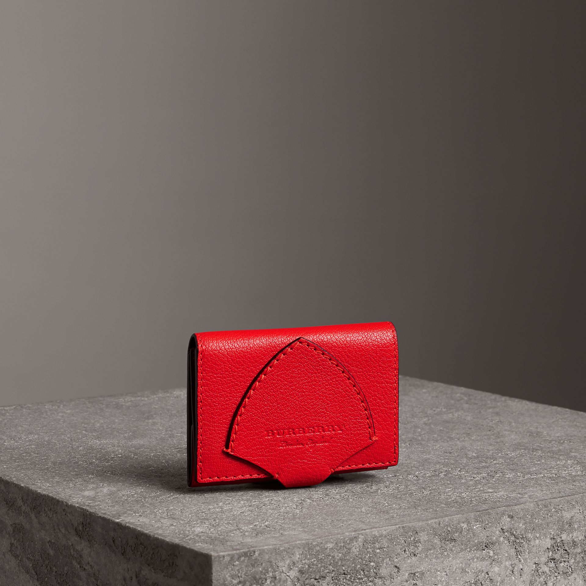 Equestrian Shield Two-tone Leather Folding Wallet in Bright Red - Women | Burberry - gallery image 0