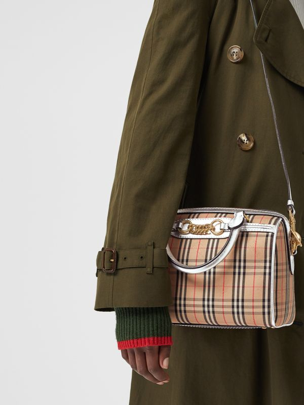 The Small 1983 Check Link Bowling Bag in Silver - Women | Burberry Canada - cell image 3