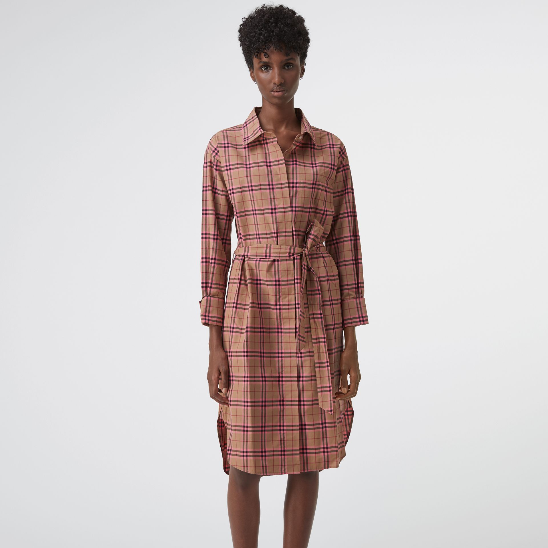 Check Cotton Shirt Dress in Pomegranate Pink - Women | Burberry United States - gallery image 4