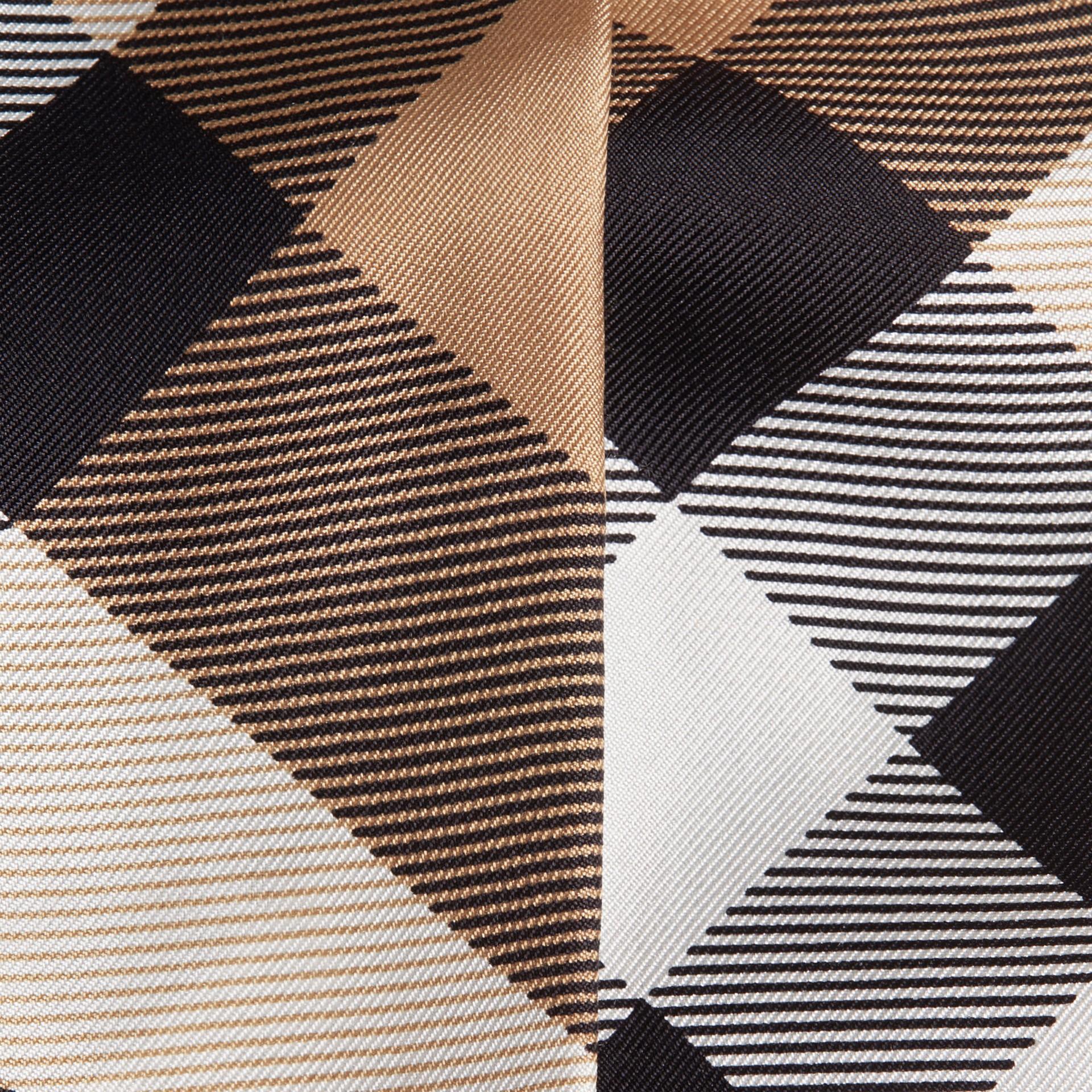 Cammello Sciarpa sottile in seta con stampa con motivo check Cammello - immagine della galleria 2