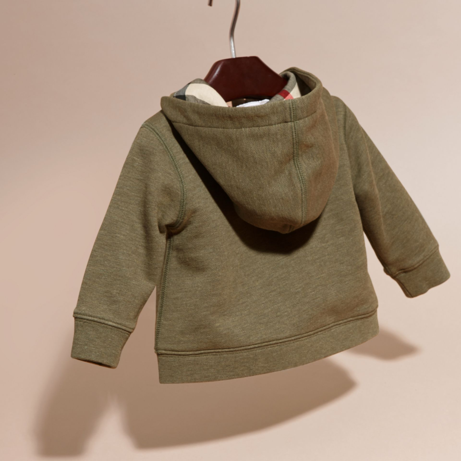 Check Detail Hooded Cotton Top in Khaki Green Melange | Burberry - gallery image 4