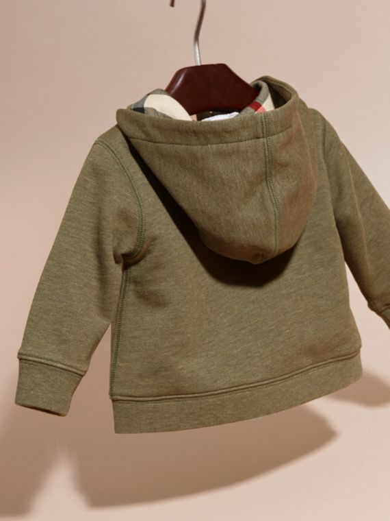 Check Detail Hooded Cotton Top in Khaki Green Melange | Burberry - cell image 3