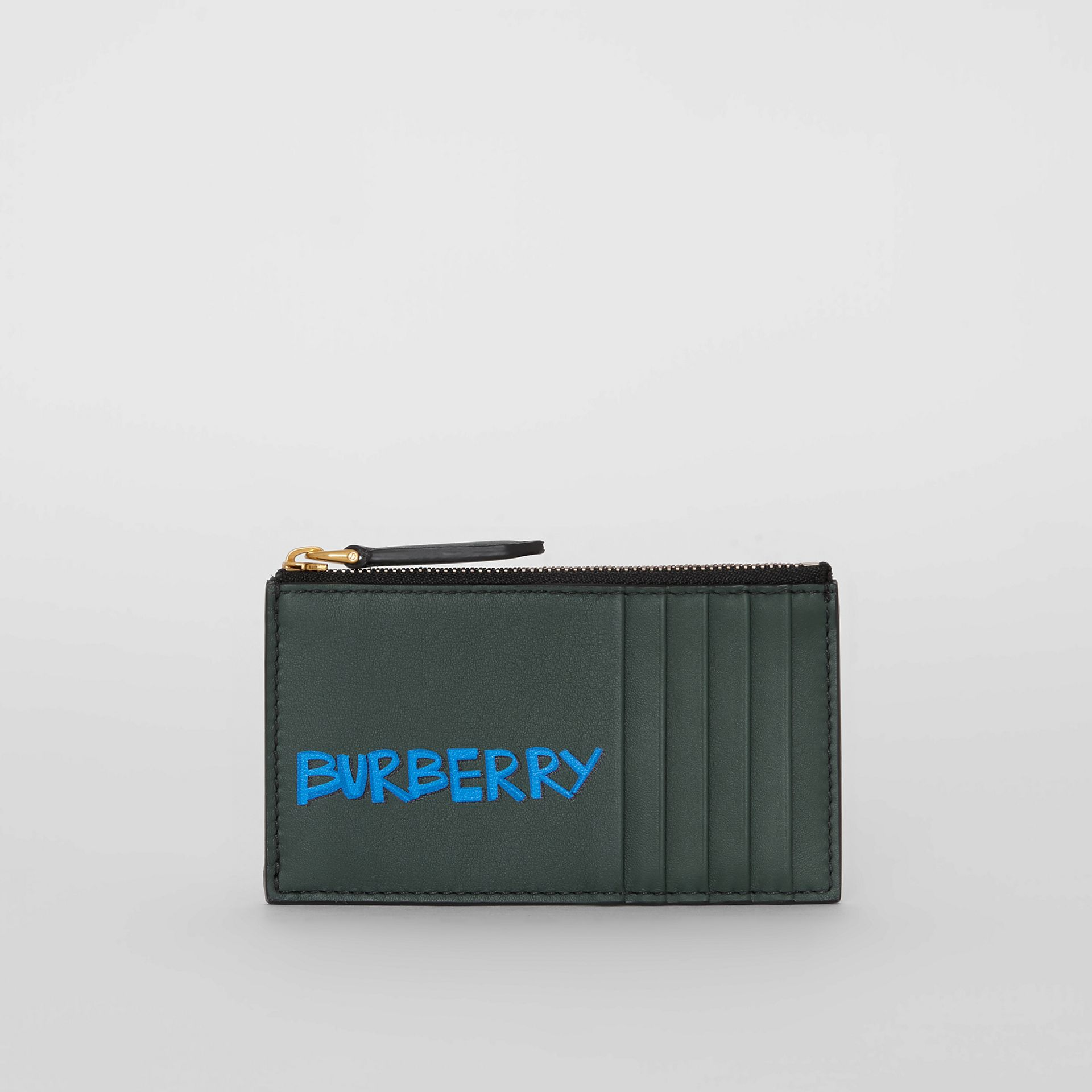 Graffiti Print Leather Zip Card Case in Deep Bottle Green | Burberry - gallery image 2