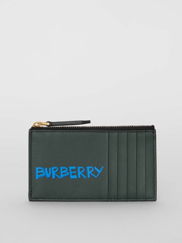 Graffiti Print Leather Zip Card Case in Deep Bottle Green | Burberry United Kingdom - cell image 2