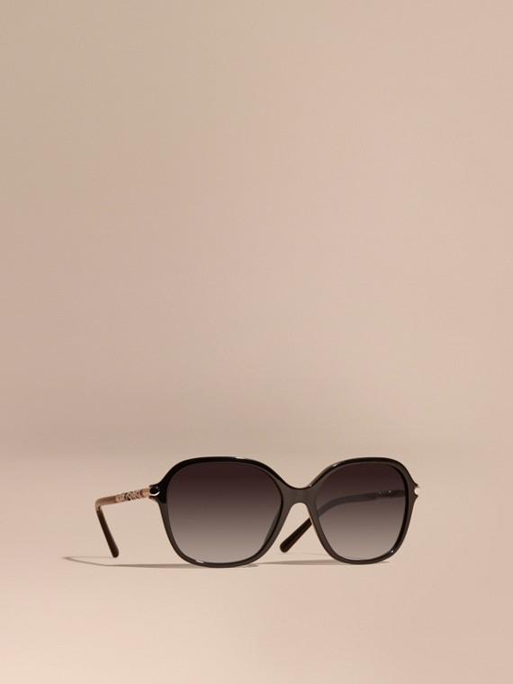 格紋細節設計圓框太陽眼鏡 黑色