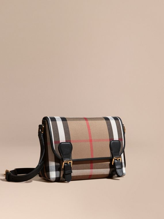 English-woven House Check and Leather Satchel