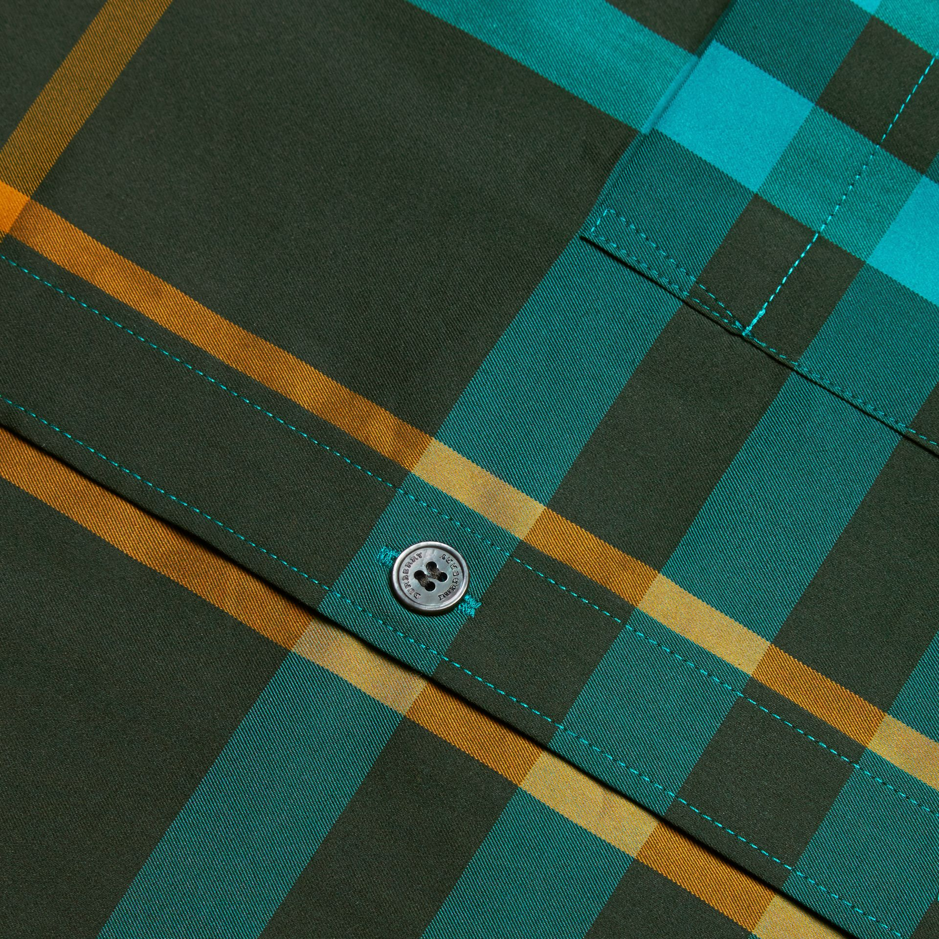 Dark turquoise Check Stretch Cotton Shirt Dark Turquoise - gallery image 2