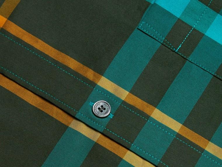 Camicia in cotone stretch con motivo tartan Turchese Scuro - cell image 1