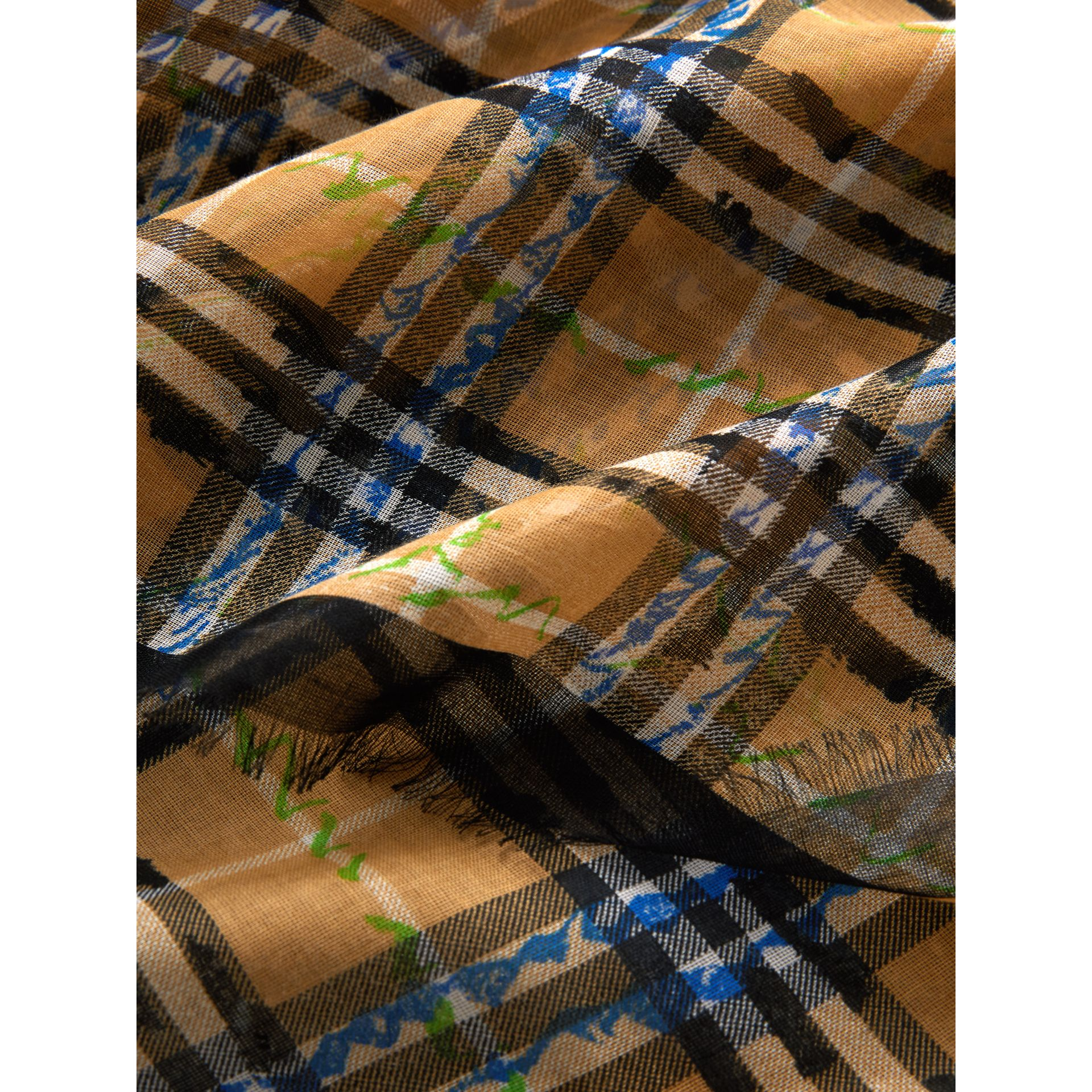 Scribble Check Cotton Large Square Scarf in Antique Yellow | Burberry - gallery image 1