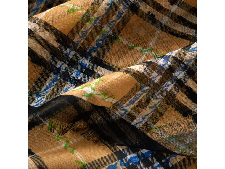 Scribble Check Cotton Large Square Scarf in Antique Yellow | Burberry - cell image 1