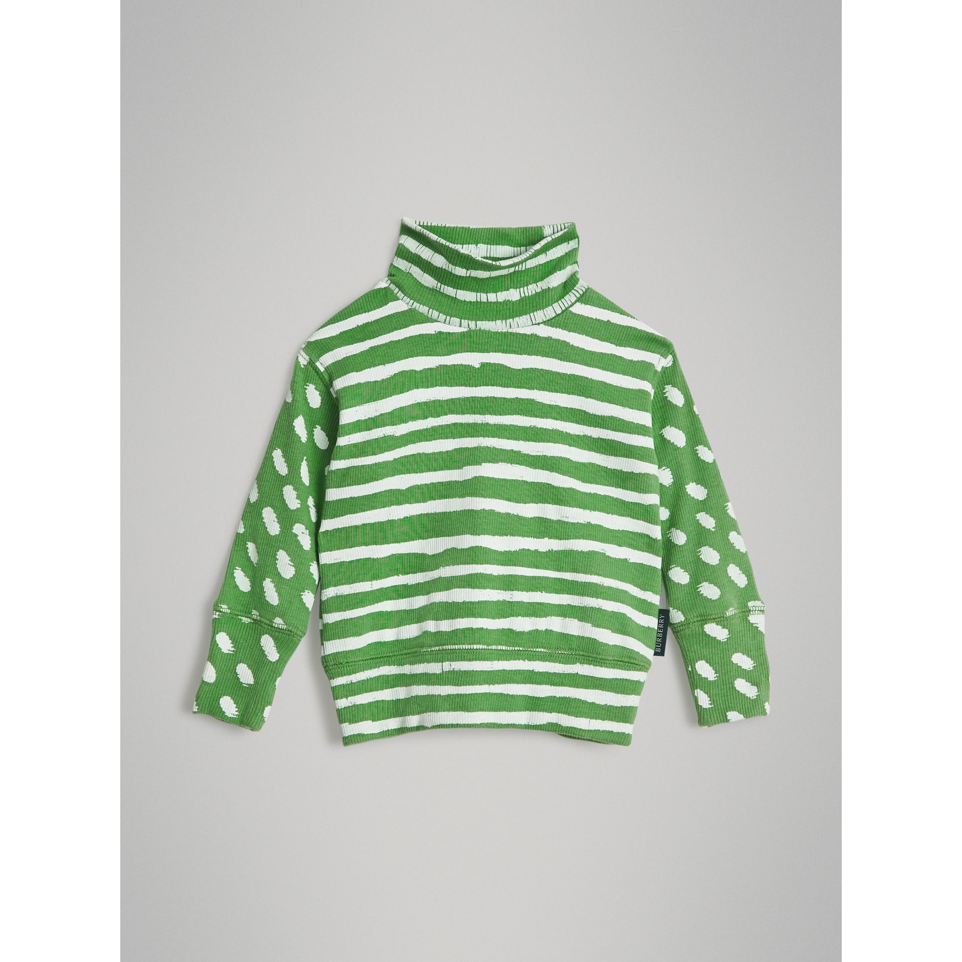 Roll-neck Spot and Stripe Print Cotton Top in Bright Green - Children | Burberry - gallery image 0