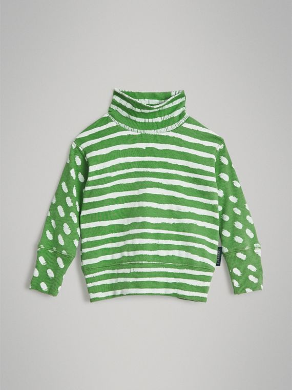 Roll-neck Spot and Stripe Print Cotton Top in Bright Green