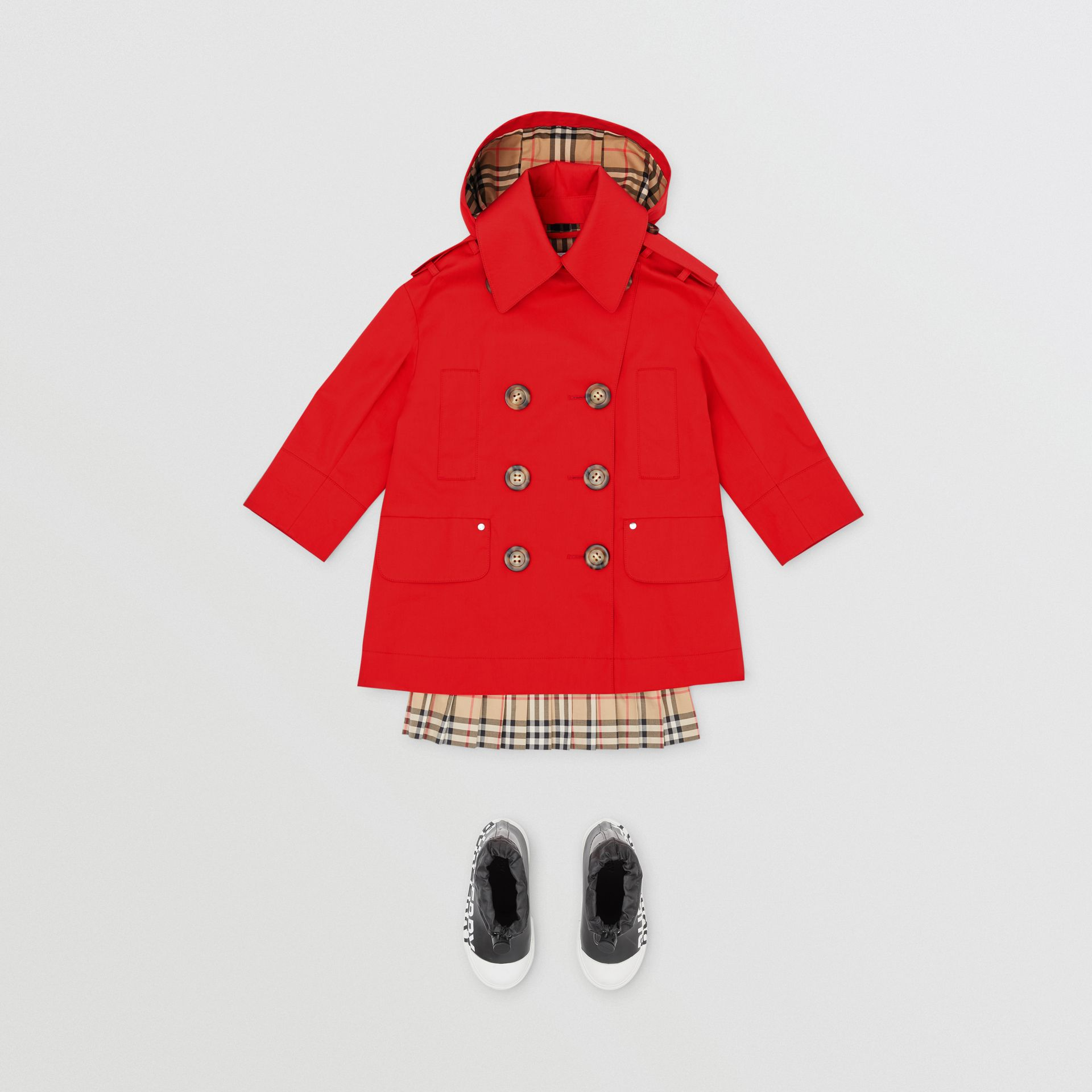 Detachable Hood Showerproof Cotton Trench Coat in Bright Red | Burberry - gallery image 2