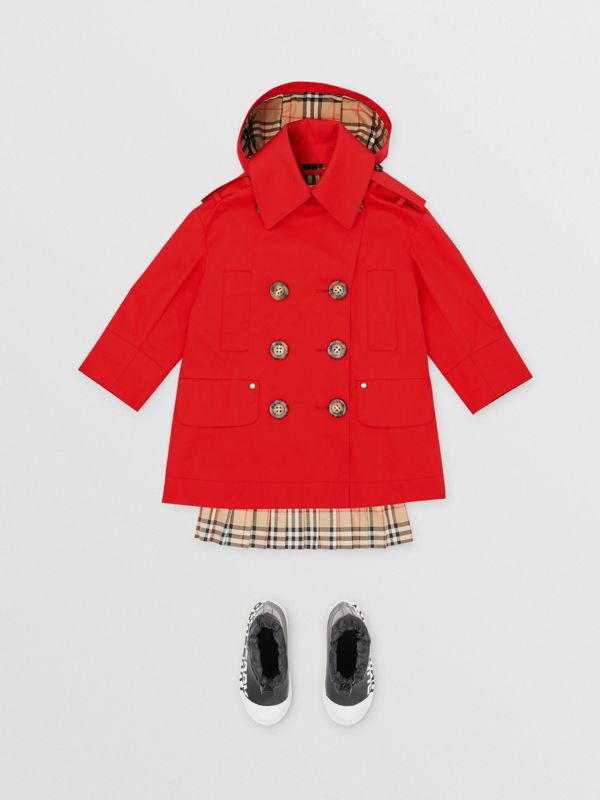 Detachable Hood Showerproof Cotton Trench Coat in Bright Red | Burberry - cell image 2