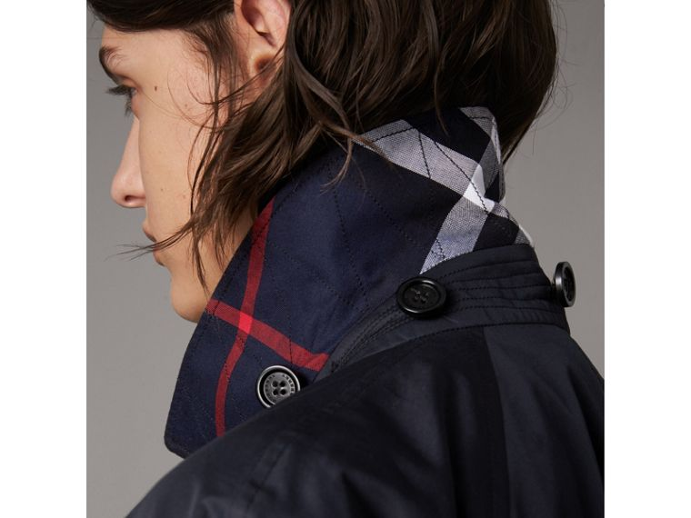 Detachable Hood Cotton Blend Car Coat in Navy - Women | Burberry - cell image 1