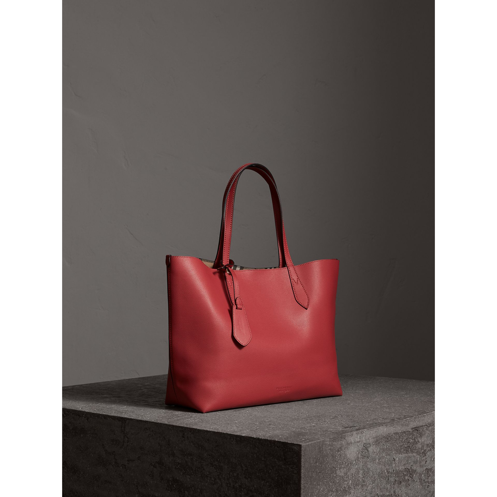 The Medium Reversible Tote in Haymarket Check and Leather in Coral Red - Women | Burberry - gallery image 7