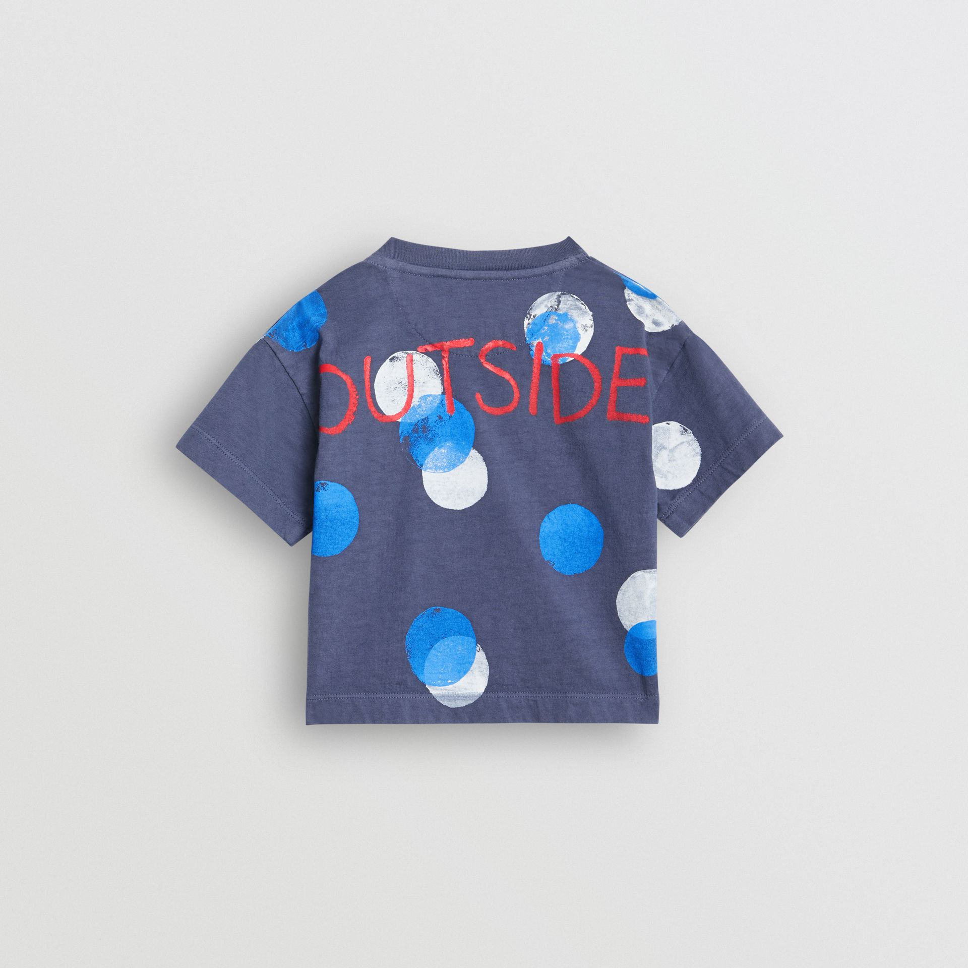 Oversized Spot Print Cotton T-shirt in Navy Melange - Children | Burberry - gallery image 3