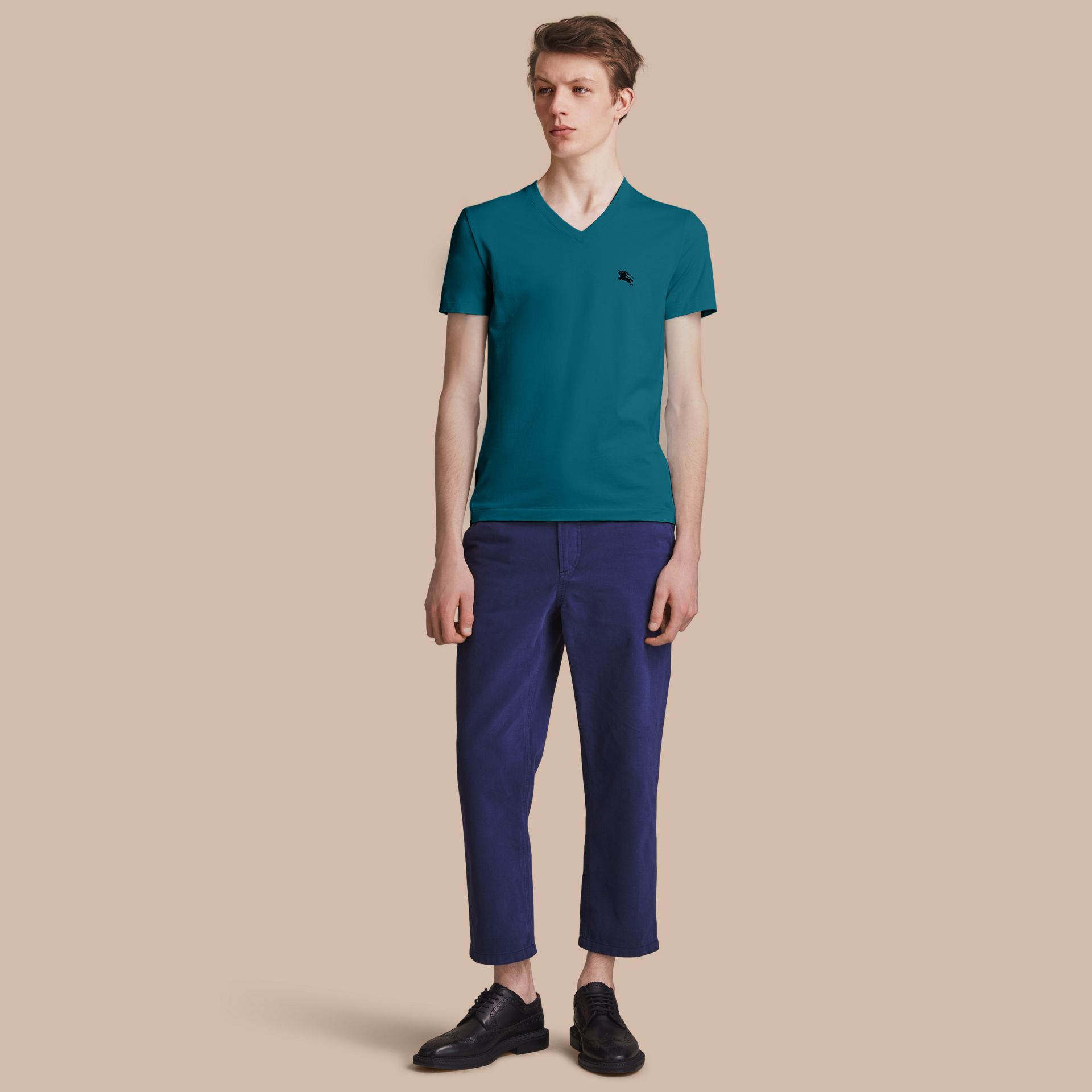 Cotton V-neck T-shirt in Mineral Blue - gallery image 1