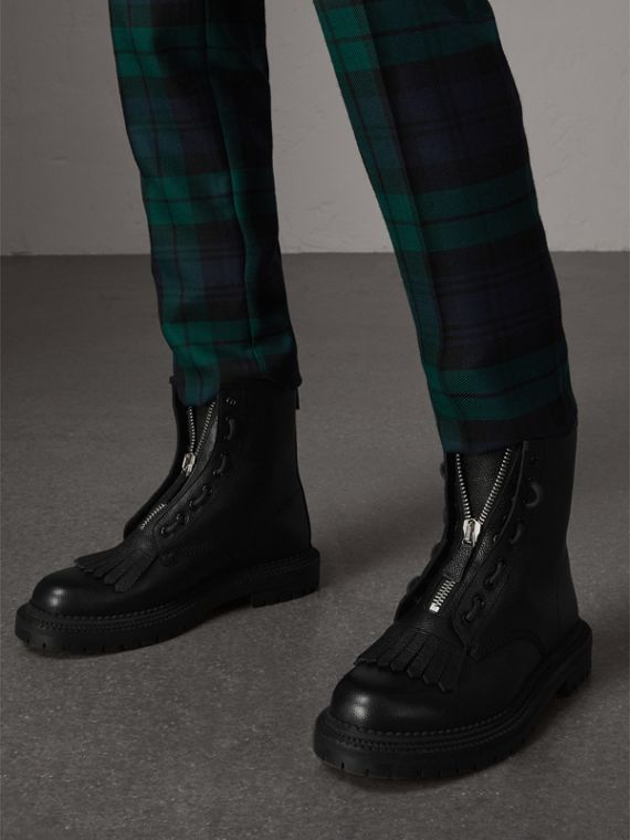 Fringe Detail Grainy Leather Zip-front Boots in Black - Men | Burberry United Kingdom - cell image 2