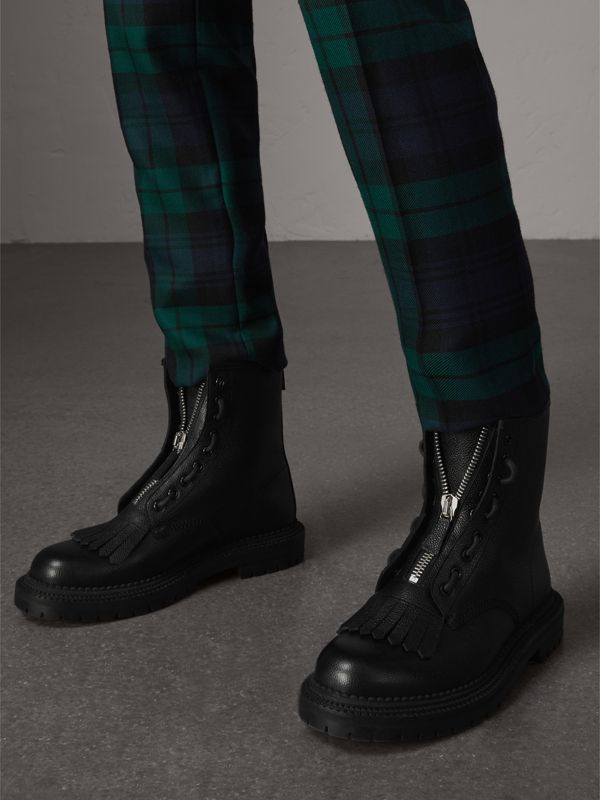 Fringe Detail Grainy Leather Zipped Boots in Black - Men | Burberry United Kingdom - cell image 2