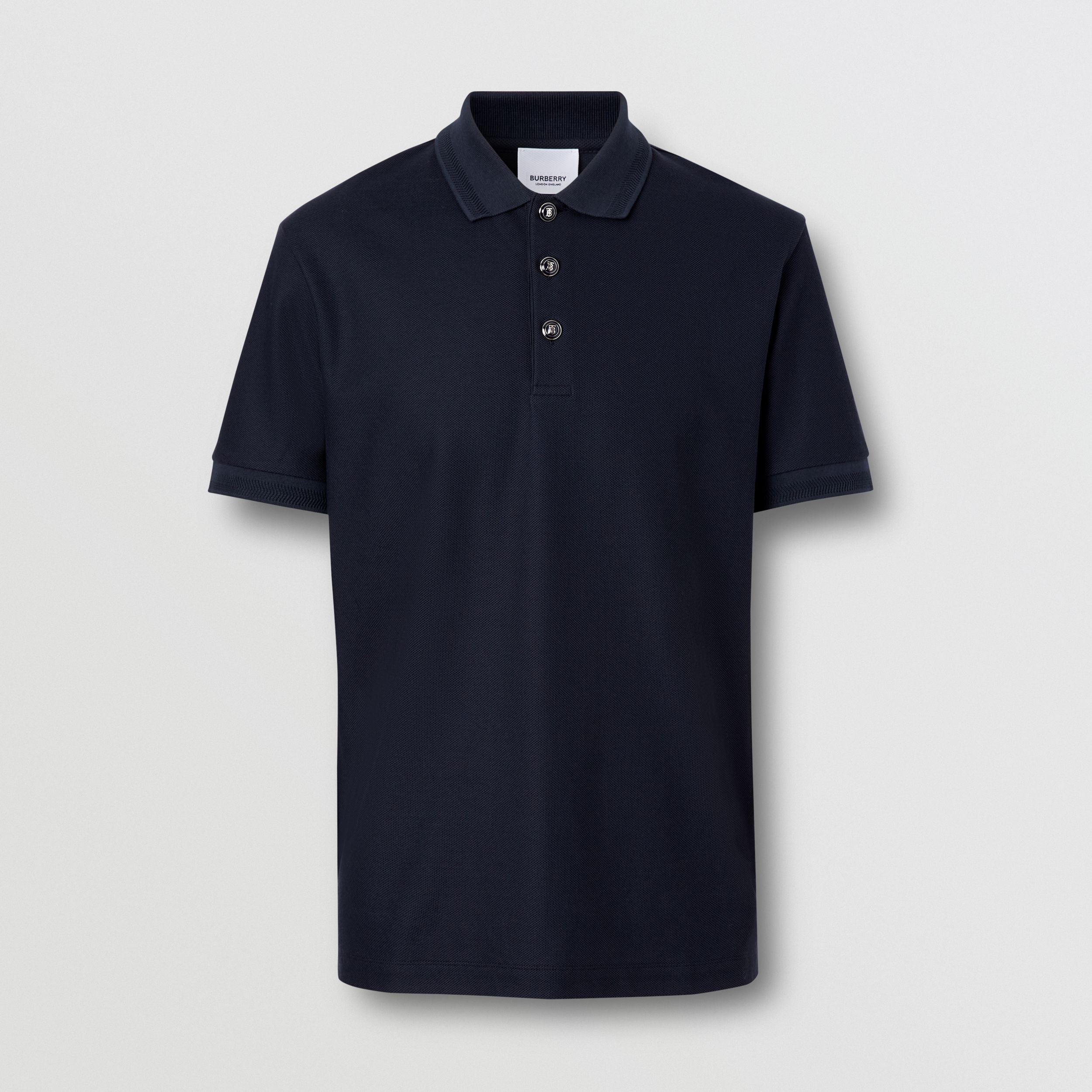 Cotton Piqué Polo Shirt in Navy - Men | Burberry - 4