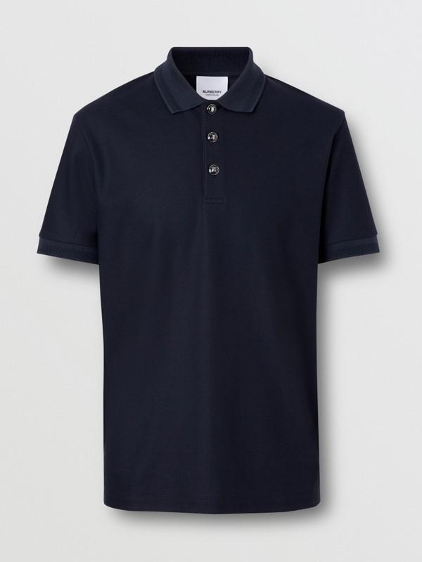 Cotton Piqué Polo Shirt in Navy - Men   Burberry - cell image 3