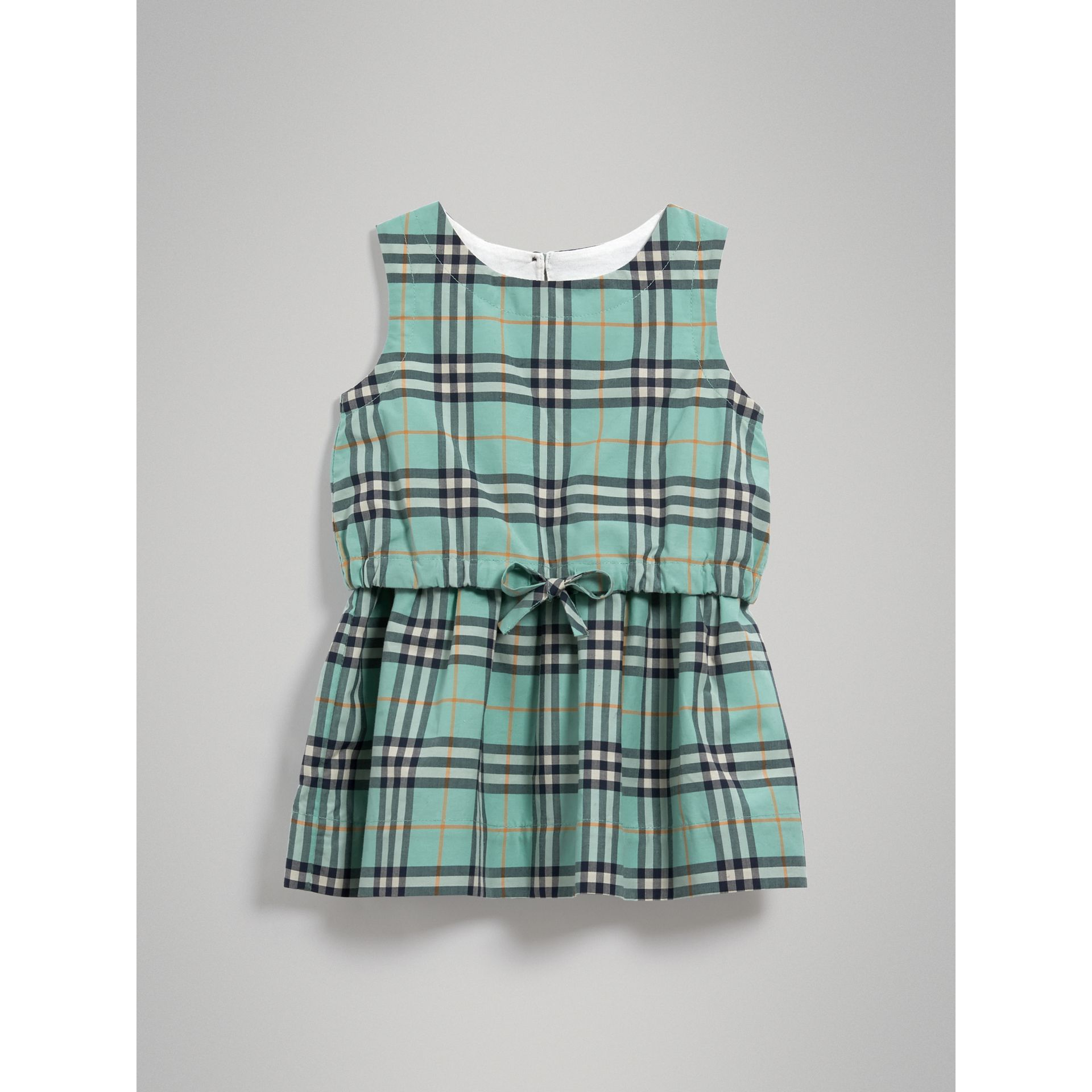 Gathered Check Cotton Dress in Bright Aqua | Burberry - gallery image 2