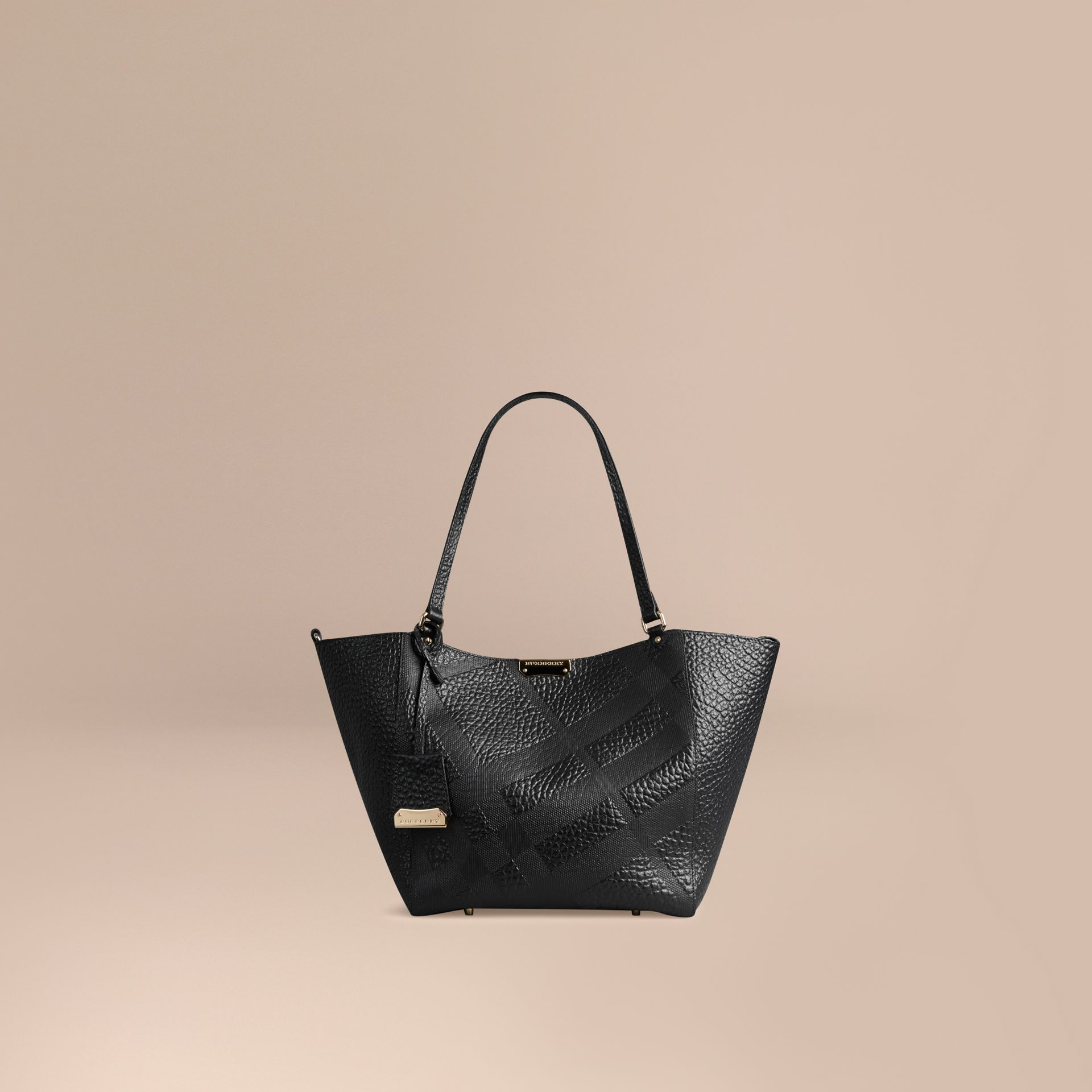 Black The Small Canter in Embossed Check Leather Black - gallery image 1