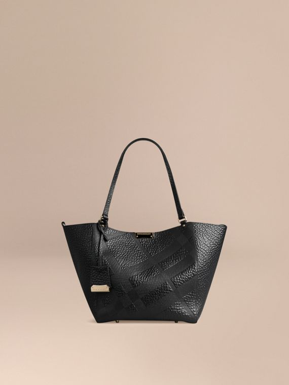 The Small Canter in Embossed Check Leather Black