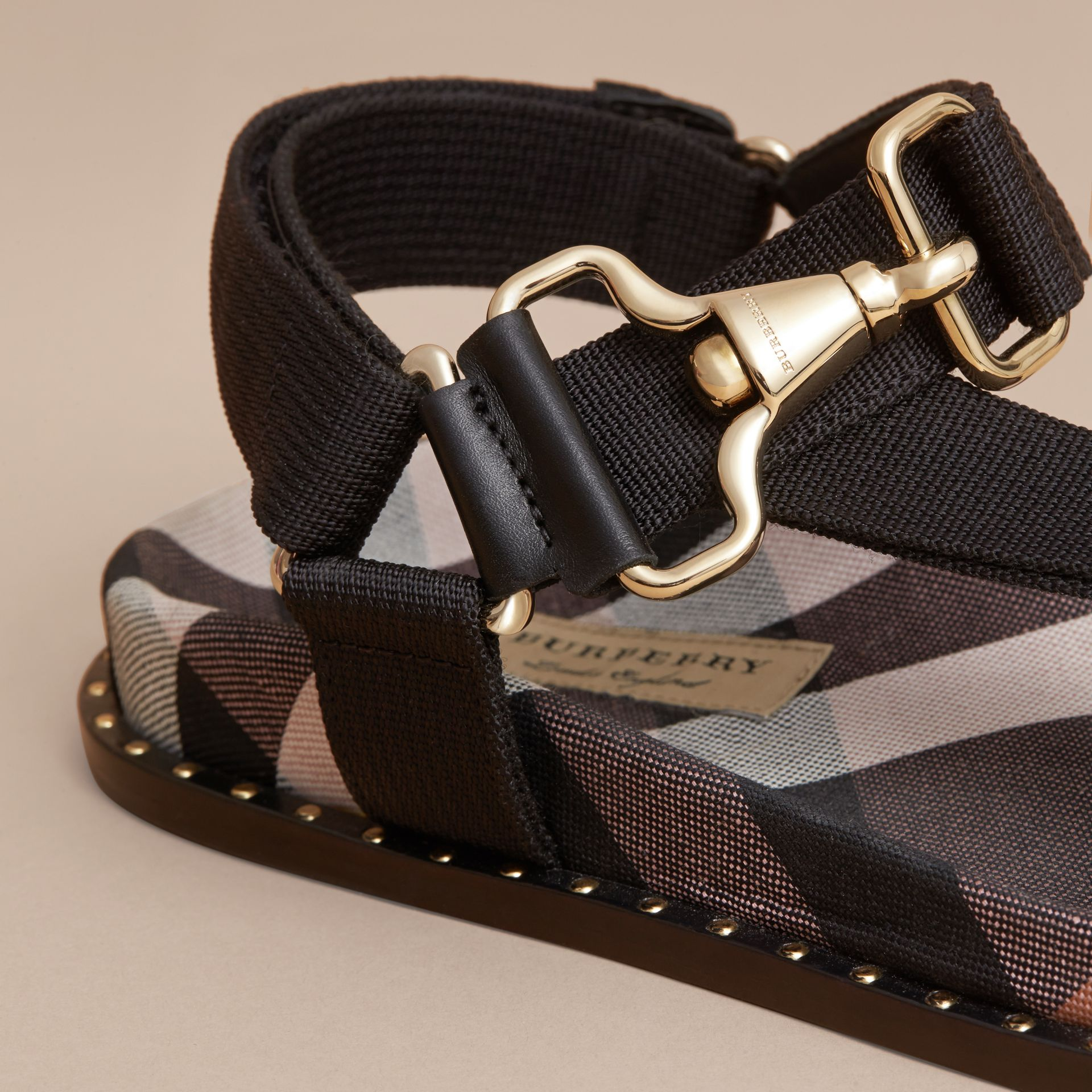 Hardware Detail Check Three-point Strap Ripstop Sandals in Antique Rose - Women | Burberry Canada - gallery image 2