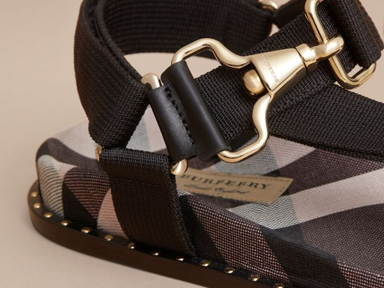 Hardware Detail Check Three-point Strap Ripstop Sandals in Antique Rose - Women | Burberry - cell image 1