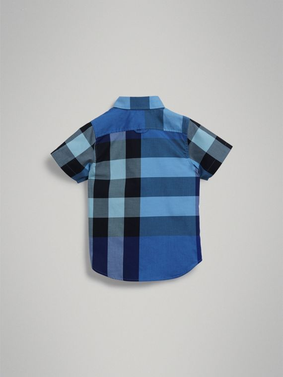 Short-sleeve Check Cotton Shirt in Light Azure - Boy | Burberry - cell image 3
