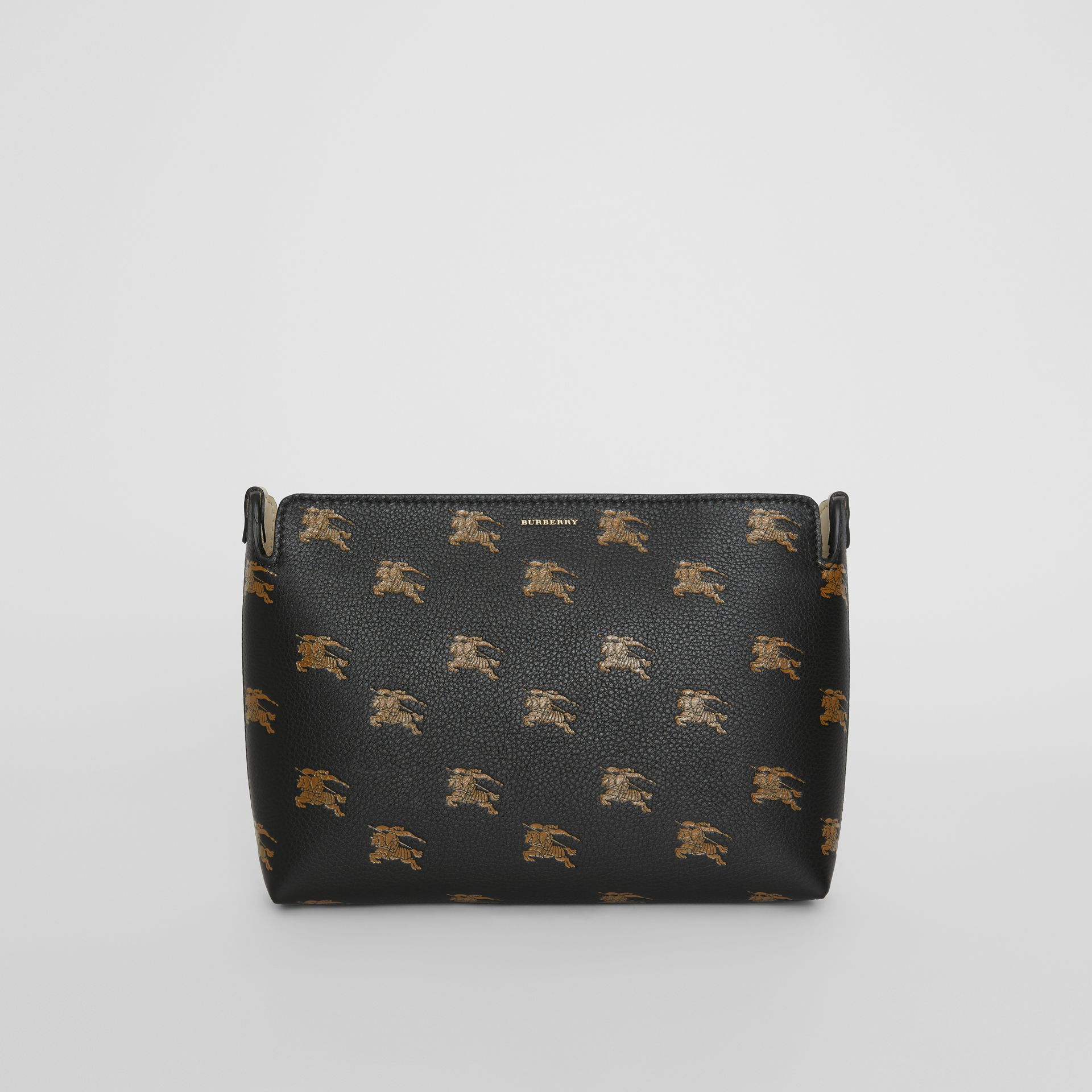 Medium Equestrian Knight Leather Clutch in Black - Women | Burberry - gallery image 0