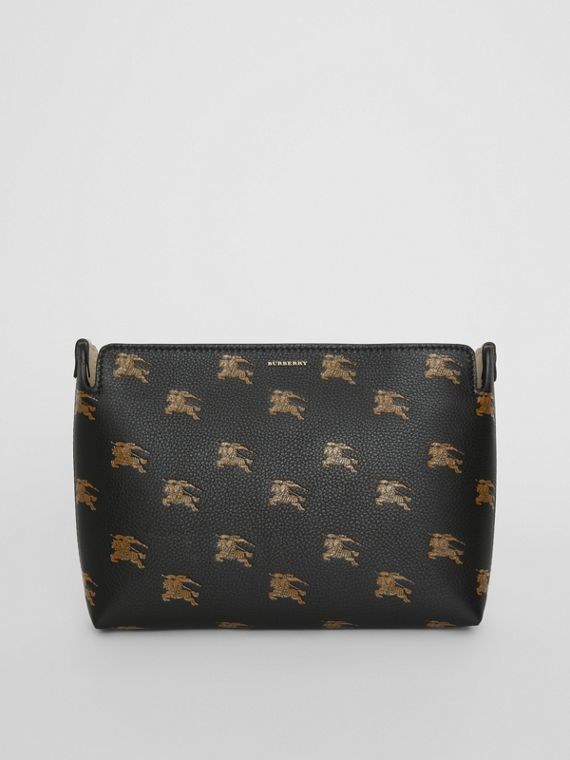 Medium Equestrian Knight Leather Clutch in Black