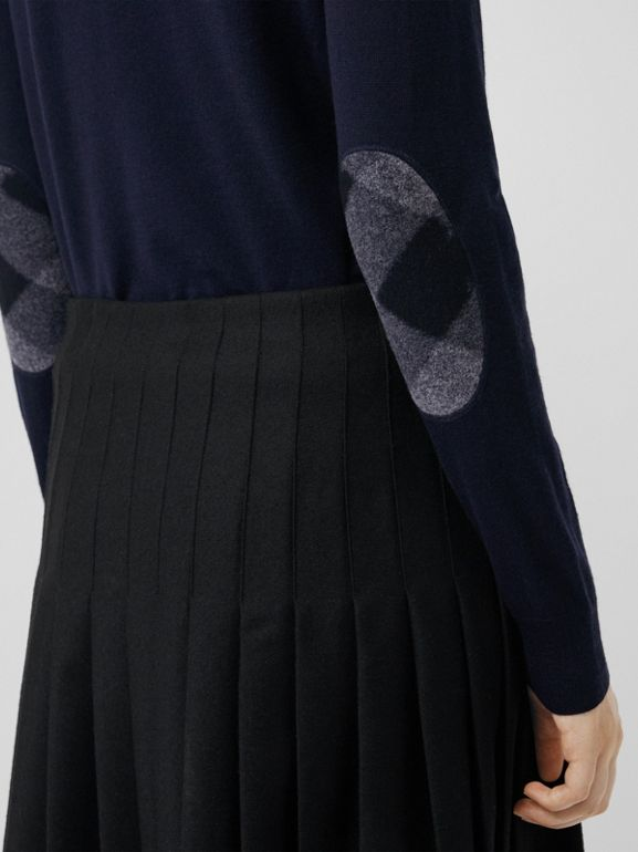 Check Detail Merino Wool Crew Neck Sweater in Navy - Women | Burberry - cell image 1