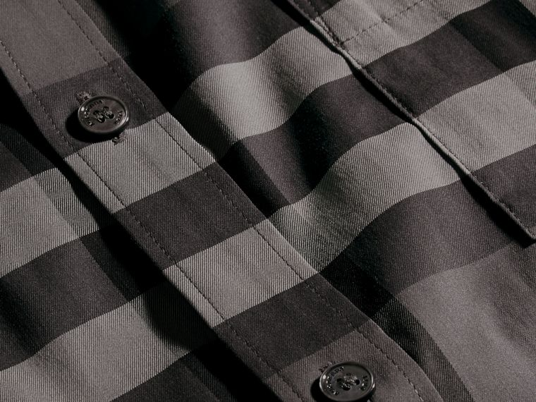 Short-sleeved Check Stretch Cotton Shirt in Charcoal - Men | Burberry - cell image 1
