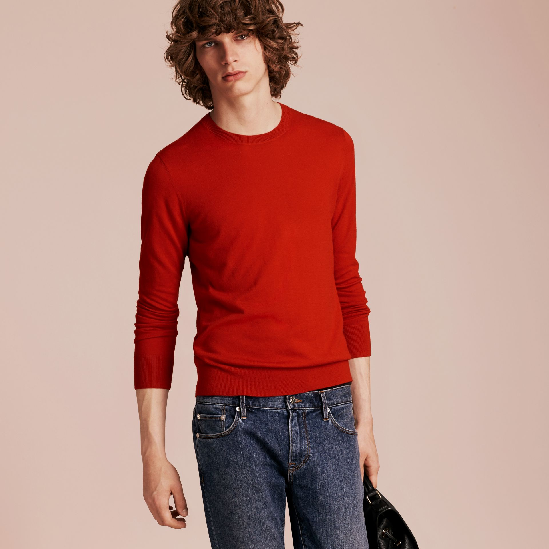 Lightweight Crew Neck Cashmere Sweater with Check Trim in Parade Red - Men | Burberry Australia - gallery image 6