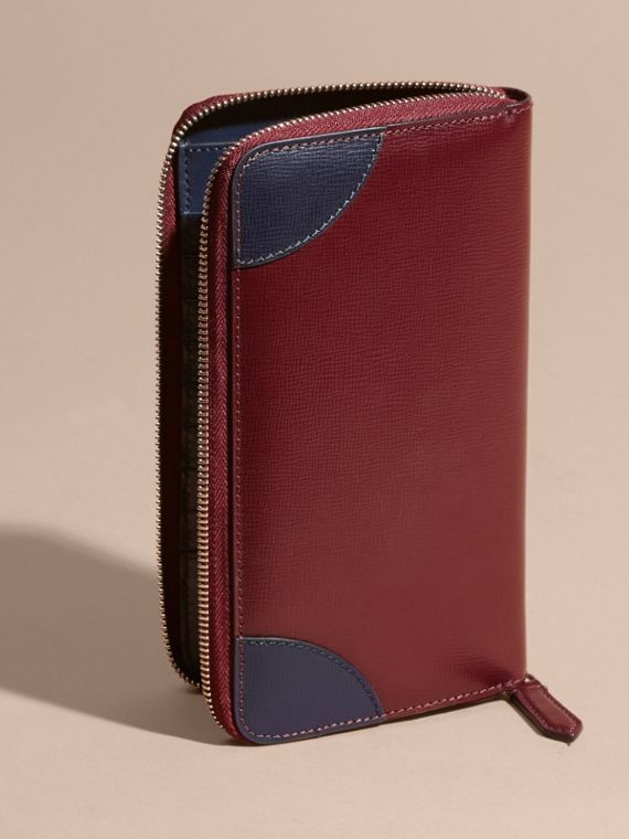 Contrast Corner London Leather Ziparound Wallet Burgundy Red - cell image 2