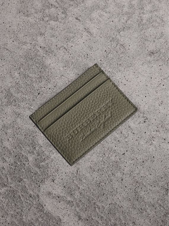 Textured Leather Card Case in Slate Green