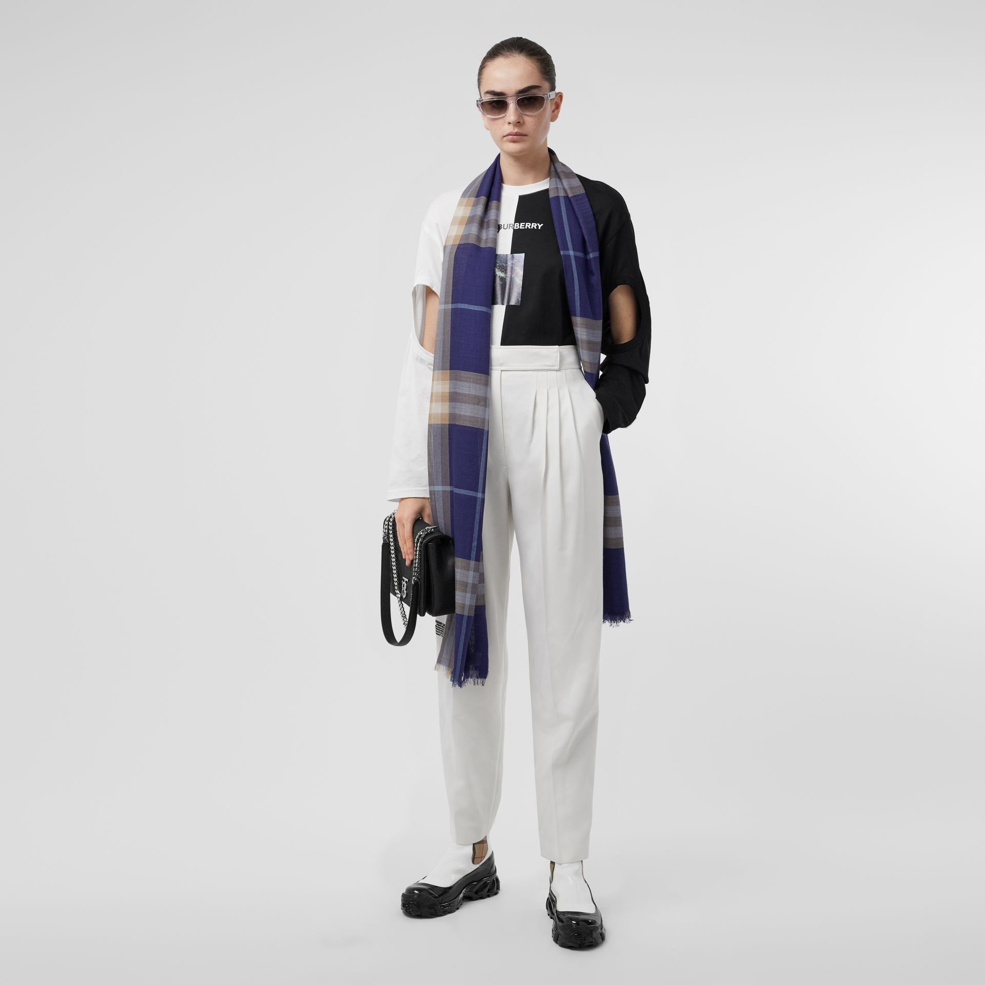Lightweight Check Wool Silk Scarf in Inky Blue | Burberry - gallery image 8